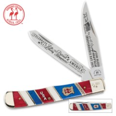 Kissing Crane July 4th Independence Day Special Limited Edition Trapper Knife