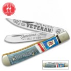 Kissing Crane 2018 US Veteran Trapper Pocket Knife - Stainless Steel Blades, Laser-Etched, Genuine Bone Handle