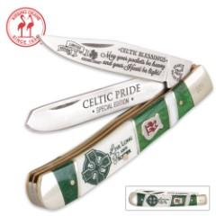 Kissing Crane Limited Edition 2016 Celtic Pride Trapper Folding Pocket Knife