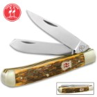 Kissing Crane Amber Bone Trapper Knife