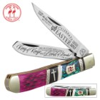 Kissing Crane 2017 Abalone Easter Trapper Pocket Knife