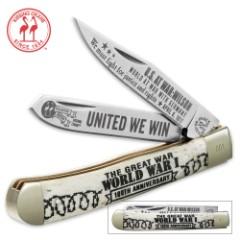 Kissing Crane WWI 100TH Anniversary Trapper Pocket Knife