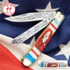 Kissing Crane Star Spangled Banner Trapper Pocket Knife