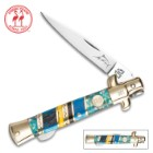 Kissing Crane Bahama Blue Small Stiletto Knife - Stainless Steel Blades, Genuine Bone Handle, Brass Liners, Polished Bolsters, Individually Serialized
