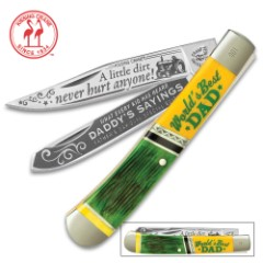 Kissing Crane Limited Edition 2018 Father's Day Trapper Pocket Knife – Stainless Steel Blades, Laser Etched Artwork, Genuine Bone Handle