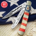 Kissing Crane 2019 Fourth Of July Trapper Pocket Knife - Stainless Steel Blades, Bone Handle Scales, Nickel Silver Bolsters, Brass Pins