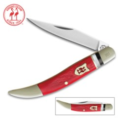 "Kissing Crane Red Jigged Bone Toothpick Folder / Pocket Knife  - 440 Stainless Steel - Genuine Bone - Nickel Silver Bolsters - Faux Mother of Pearl Spacers - 3"""