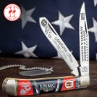 Kissing Crane USMC Dress Blues Trapper Pocket Knife - Stainless Steel Blades, Bone And Pearl Handle Scales, Nickel Silver Bolsters, Brass Liner