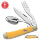 "Kissing Crane Lemon Yellow Camp Dining Tool – CrMoV17 Stainless Steel, Durable Resin Handle, Spoon, Fork, Knife – Length 7 1/2"""