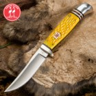 Kissing Crane Yellow Jigged Bone Hunter Knife