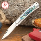 Kissing Crane Genuine Abalone And Stainless Mini Pocket Knife