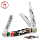 Kissing Crane Warrior Moon Stockman Pocket Knife / Folder - Collectible Limited Edition, Native American Theme, Serialized Bolsters - 440 Stainless Steel - Laser Etched American Indian Art