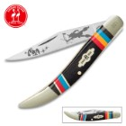 Kissing Crane Warrior Moon Toothpick Pocket Knife / Folder - Collectible Limited Edition, Native American Theme, Serialized Bolsters - 440 Stainless Steel - Laser Etched American Indian Art