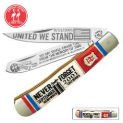 Kissing Crane 9/11 Tribute Trapper Pocket Knife – Stainless Steel Blades, Genuine Bone Handle, Nickel Silver Bolsters, Brass Liner