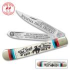 Kissing Crane Trail Of Tears Commemorative Trapper Pocket Knife – Stainless Steel Blades, Genuine Bone Handle, Nickel Silver Bolsters, Brass Liner