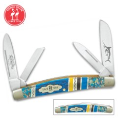 Kissing Crane Bahama Blue Congress Pocket Knife