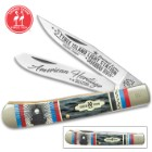 Kissing Crane Tybee Island Lighthouse Trapper Pocket Knife - Stainless Steel Blades, Bone Handle, Nickel Silver Bolsters, Brass Liners
