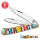 Kissing Crane Mosaico Trapper Pocket Knife - Stainless Steel Blades, Genuine Stone And Acrylic Handle Scales, Nickel Silver Bolsters, Brass Spacers