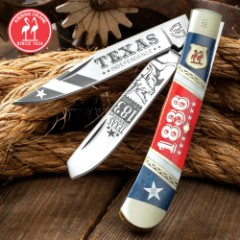 Kissing Crane 2019 Texas Independence Trapper Pocket Knife - Stainless Steel Blades, Bone And Pearl Handle, Nickel Silver Bolsters, Brass Liners