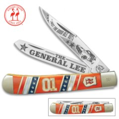 Kissing Crane General Lee Trapper Pocket Knife - Stainless Steel Blades, Bone And Pearl Handle, Nickel Silver Bolsters, Brass Liners