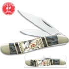 Kissing Crane Smoky Hollow Peanut Pocket Knife - Stainless Steel Blades, Genuine Bone And Pearl Handle Scales, Nickel Silver Bolsters