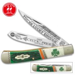 2019 Kissing Crane Celtic Trapper Pocket Knife - Stainless Steel Blades, Bone Handle, Nickel Silver Bolsters, Brass Liners