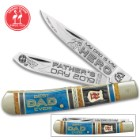 Kissing Crane 2019 Father's Day Trapper Pocket Knife - Stainless Steel Blades, Bone Handle Scales, Nickel Silver Bolsters, Brass Pins
