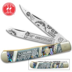 Kissing Crane Lunar Landing Anniversary Trapper Pocket Knife - Stainless Steel Blades, Bone And Abalone Handle Scales, Nickel Silver Bolsters