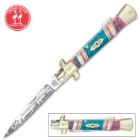 Kissing Crane 2019 Mother's Day Stiletto Knife - Etched Stainless Steel Blade, Bone And Ceramic Handle Scales, Polished Brass Bolsters