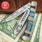 Kissing Crane 2019 Freemason Trapper Pocket Knife - Stainless Steel Blades, Bone Handle Scales, Nickel Silver Bolsters