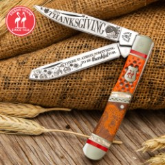 2019 Kissing Crane Thanksgiving Trapper Pocket Knife - Stainless Steel Blades, Bone And Pearl Handle, Nickel Silver Bolsters