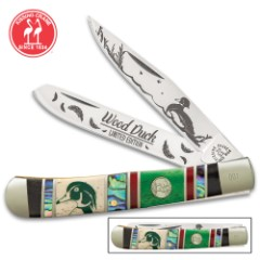 Kissing Crane Wood Duck Trapper Pocket Knife - Stainless Steel Blades, Genuine Abalone And Bone Handle Scales, Nickel Silver Bolsters