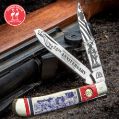 Kissing Crane 75TH Anniversary D-Day Trapper Pocket Knife - Stainless Steel Blades, Bone Handle Scales, Nickel Silver Bolsters