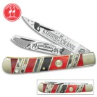 Kissing Crane 185TH Anniversary Trapper Pocket Knife - Stainless Steel Blades, Bone And Abalone Handle, Brass Liners, Polished Bolsters