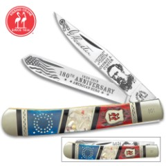 Kissing Crane Lt. Colonel George Custer Trapper Pocket Knife - Stainless Steel Blades, Bone And Genuine Exotics Handle Scales, Nickel Silver Bolsters