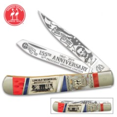 Kissing Crane Abraham Lincoln Trapper Pocket Knife - Stainless Steel Blades, Bone And Pearl Handle, Nickel Silver Bolsters