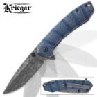 Kriegar Maelstrom DamascTec Steel Pocket Knife   Raindrop Etch Pattern   Azure Blue