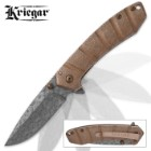 Kriegar Maelstrom DamascTec Steel Pocket Knife | Raindrop Etch Pattern | Copper-Colored Finish