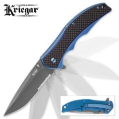 Kriegar Aeon Assisted Opening Pocket Knife - Gray Titanium-Coated Blade - Metallic Blue Handle
