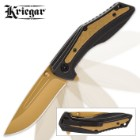 Kriegar Dawn Ecliptic Assisted Opening Pocket Knife - G10 Handle / Golden Titanium Finish