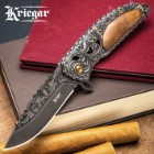 Kriegar Cavalier Dusk Assisted Opening Pocket Knife - Dusky Black with Burled Elm Inlays