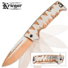 Kriegar Karnivore Assisted Opening Pocket Knife - Two-Tone Copper Titanium Finish with Teeth Marks