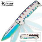 Kriegar Karnivore Assisted Opening Pocket Knife - Two-Tone Rainbow Titanium Finish with Teeth Marks