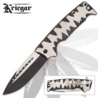 Kriegar Karnivore Assisted Opening Pocket Knife / Folder - Teeth Marks Edge Handle - 2-Tone Finish Black Titanium / Satin Stainless Steel - Blade Spur / Flipper, Liner Lock, Pocket Clip, Lanyard Hole