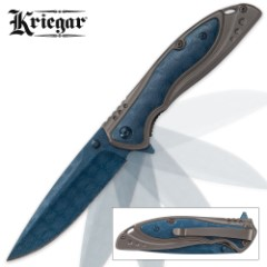 Kriegar Earth Orb Assisted Opening Pocket Knife with DamascTec Steel Blade - Blue Titanium-Plated