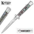 Kriegar Faux Abalone Stiletto Knife - Carbon Steel Blade, Stainless Steel Handle With Resin Inlay, Stainless Steel Bolsters - Closed 4 3/4""