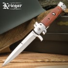 Kriegar German Peach Wood Stiletto Knife - Stainless Steel Blade, Assisted Opening, Wooden Handle, Stainless Bolsters And Pins