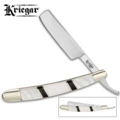 Kriegar Ascot Razor Pocket Knife - Stainless Steel Blade, Genuine Mother Of Pearl Handle, Brass Liners, Nickel Silver Bolsters