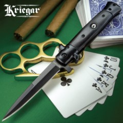 Kriegar Black Stiletto Assisted Opening Pocket Knife - Stainless Steel Blade, Non-Reflective, Wooden Handle, Pocket Clip