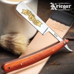 "Kriegar Pioneer Trail Best Shave Razor - Stainless Steel Blade, Wooden Handle Scales, Brass Pins, Stainless Steel Liners - Length 10"""